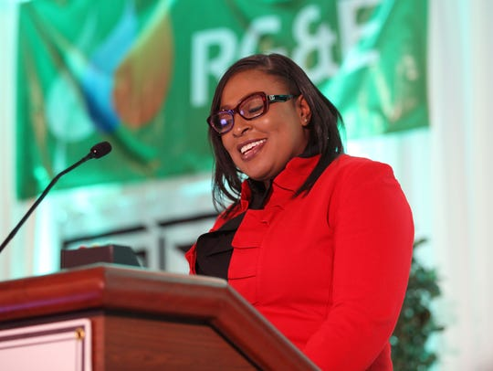 Rochester Mayor Lovely Warren speaks on the future of Rochester and what we have to look forward to at the Vision-Future economic development event on Tuesday, Dec. 12, at the Joseph A. Floreano Rochester Riverside Convention Center.