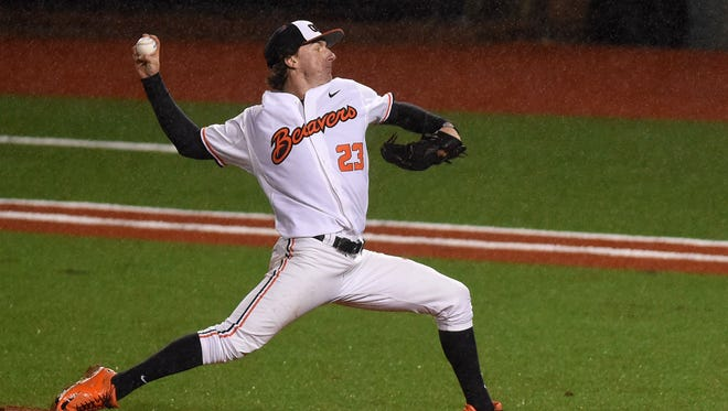 Oregon State's Andrew Moore pitches as the Beavers take on Grambling during a game at Goss Stadium in Corvallis.