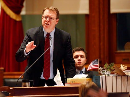 Iowa state senator Rob Hogg debates SF 2383 ways and means tax reform bill in the Iowa Senate Wednesday, Feb. 28, 2018.