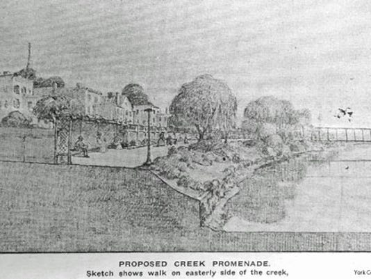 Frederick Law Olmsted, Jr.'s proposal for the Codorus Creek bank