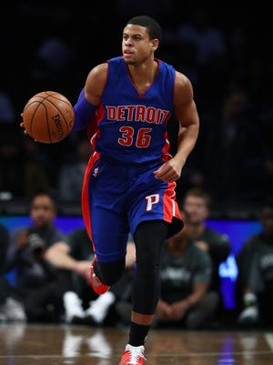 Ray McCallum of the Detroit Pistons moves the ball up the court against the Brooklyn Nets during a preseason game at the Barclays Center on Oct. 6, 2016 in New York City.