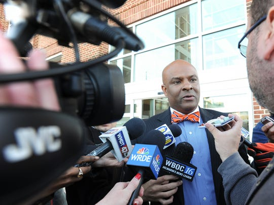 La Mar Gunn, president of the state NAACP central branch in Delaware, speaks about the not guilty verdict for Dover Police officer Cpl. Thomas Webster on Dec. 8. A federal civil rights lawsuit over Webster kicking a suspect in the head has been resolved.