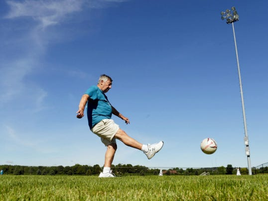 Ronald Gable, 78 of Dallastown, participates in the soccer kick event at Central York High School during the 14th annual York County Senior Games on Wednesday.