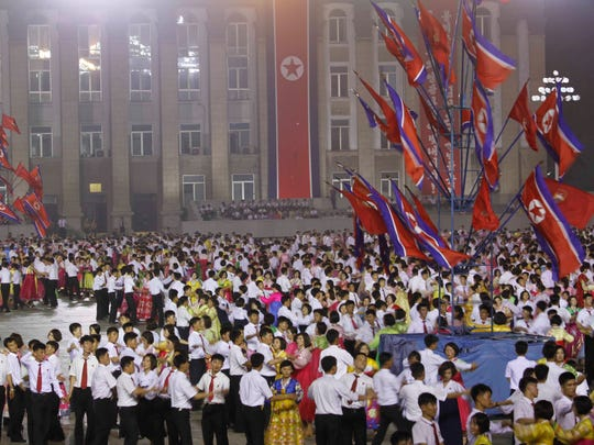 A celebration in Pyongyang of North Korea's first successful