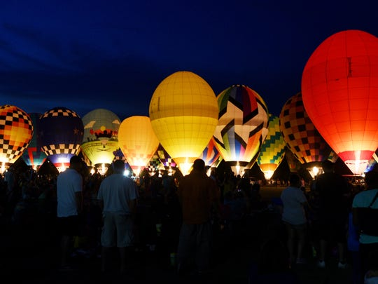 The 2018 Red River Balloon Rally Balloon Glow Friday evening at LSU Shreveport.