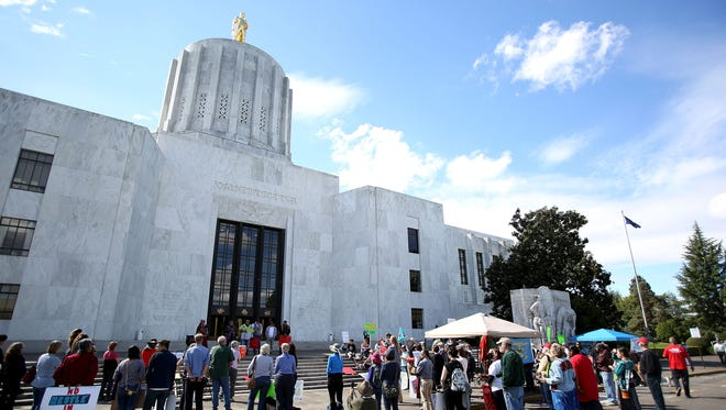 Several tribes held a rally at the Capitol to protest the proposed Nestle water bottling plant in the city of Cascade Locks. Photo taken on Wednesday, Sept. 16, 2015, in Salem, Ore.