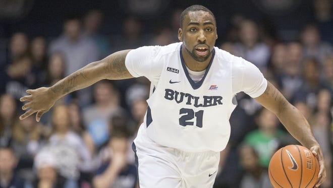 Roosevelt Jones brings the ball upcourt, Marquette at Butler, men's basketball from Hinkle Fieldhouse, Saturday, March 5, 2016. Butler won 95-74.