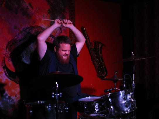 Tyler Sevy of Zangiev pounds his drums Saturday during