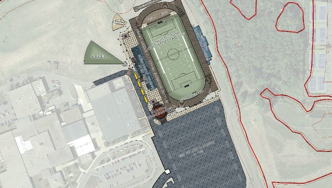 A drawing of a proposed new athletics complex at Marshfield High School.