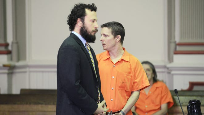 Matthew Stoneburner addresses the gallery in Muskingum County Common Pleas Court on Tuesday, shortly before he was sentenced to 9 years in prison for a string of robberies he committed last year.