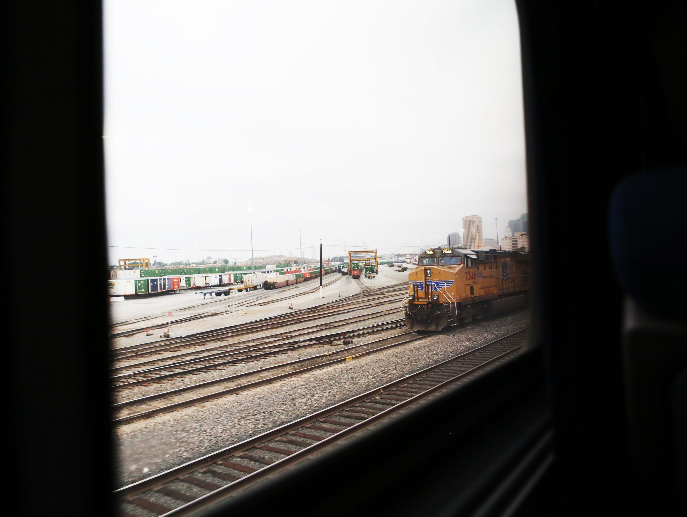 A Union Pacific engine car can be seen on the tracks