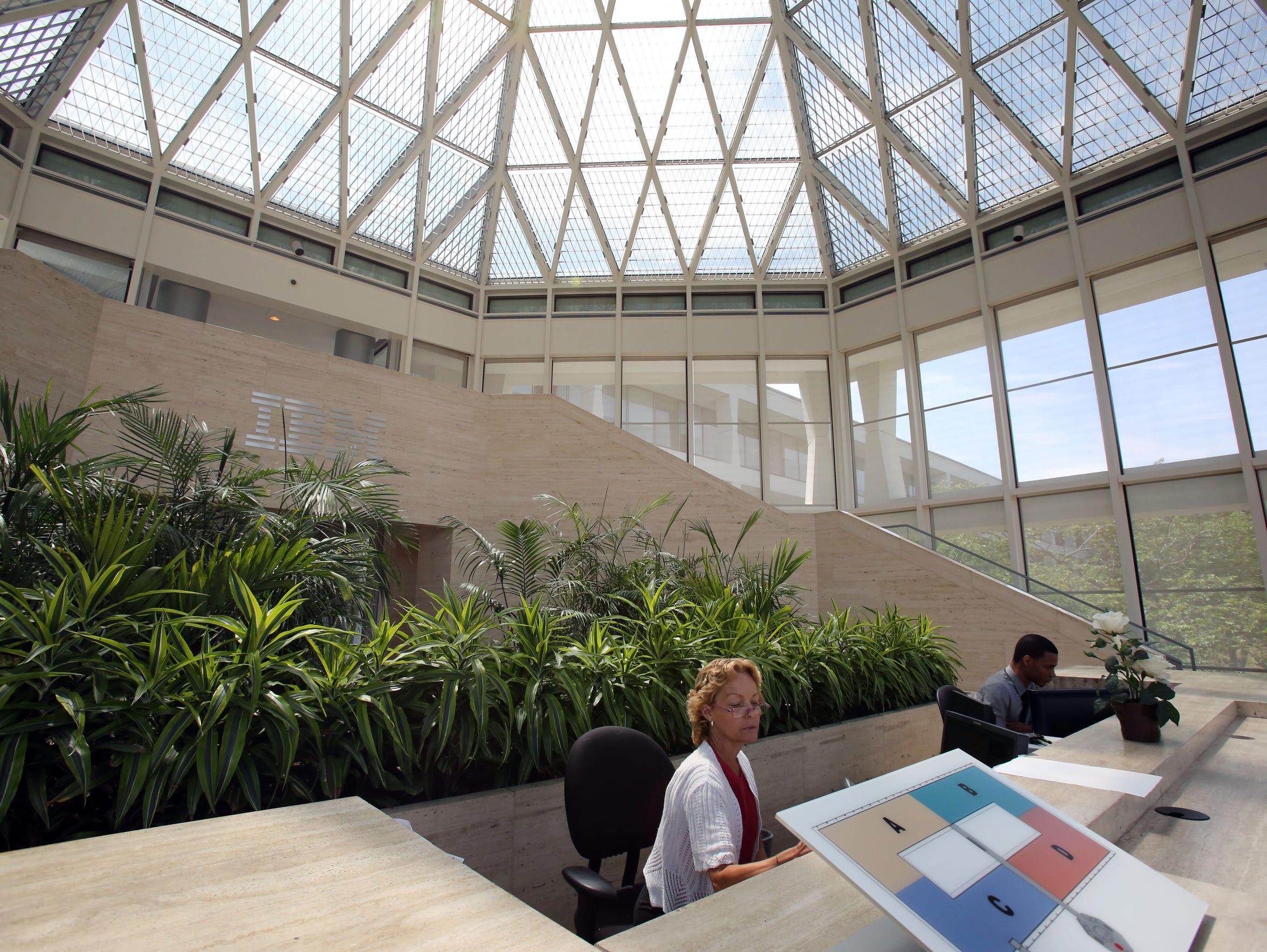 The atrium in the IBM building on the Armonk campus