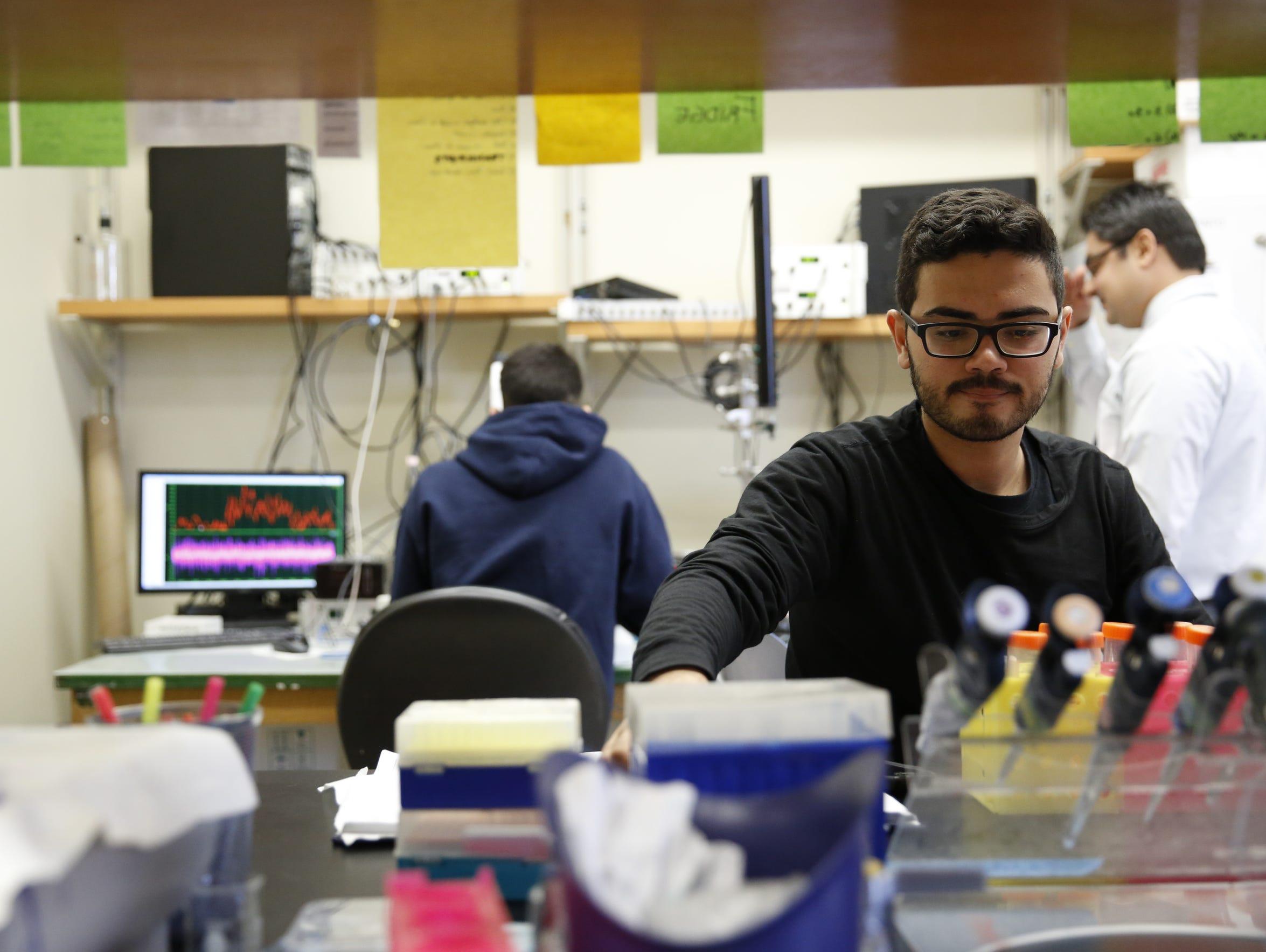 Junior biochemistry major Joshua Tijerino preps solutions