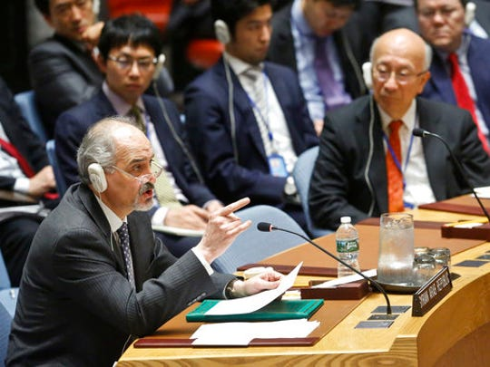 Syria's Ambassador to the United Nations Bashar Ja'afari address Security Council after a resolution vote condemning Syria's use of chemical weapons failed to pass, Wednesday, April 12, 2017 at U.N. headquarters.