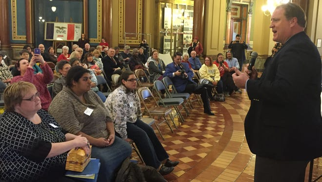 Former Gov. Chet Culver, a Democrat, speaks at an Iowa Capitol rally Wednesday where Iowans expressed concerns about Medicaid privatization.