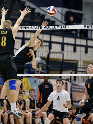 Central York's Braden Richard hits the ball against North Allegheny in the fourth game of the PIAA Class 3A boys' volleyball championship match Saturday, June 10, 2017, at Penn State. Central York defeated North Allegheny 3-1 (20-25, 25-21, 25-22, 25-23) to win the Panthers' seventh boys' volleyball title.