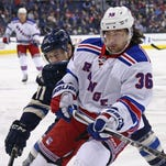 New York Rangers right wing Mats Zuccarello (36) skates