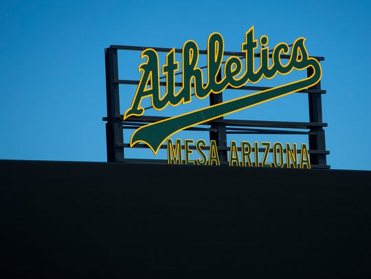 The Oakland Athletics' logo brightly sits atop the