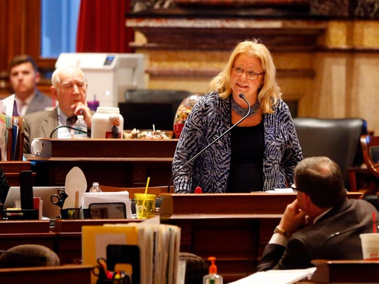 Iowa State Senator Pam Jochum debates SF 2383 ways and means tax reform bill in the Iowa Senate Wednesday, Feb. 28, 2018.