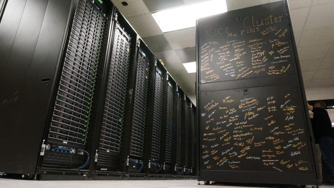 Signatures are displayed of Purdue University students and staff who helped assemble Rice, Purdue's eighth supercomputer built last May. Rice ranked 164 in TOP500, a list of the world's most powerful supercomputers.