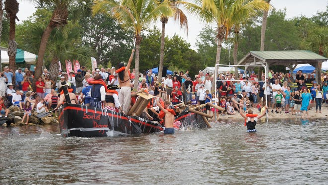 Even with help from duct tape, some cardboard boats don't survive the Cape Coral Cardboard Boat Regatta.