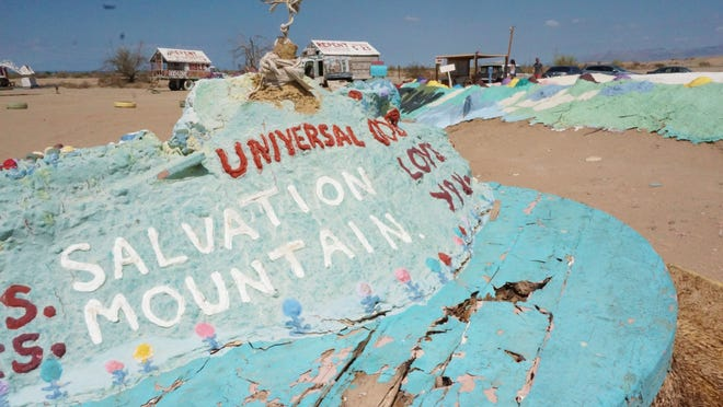Salvation Mountain was created by the late Leonard Knight in 1986 near Slab City in Niland. The mountain is currently maintained by a nonprofit organization set forth by friends of Knight.