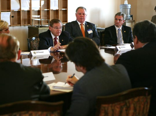 U.S. Sen. Robert Menendez speaks at a meeting between the congressional delegation and Gov. Chris Christie on Nov. 18, 2012 at the Statehouse. (Governor's Office/Tim Larsen)