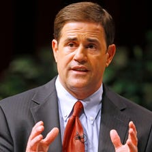 Republican gubernatorial candidate Doug Ducey talks about the Arizona economy at the Chandler Center for the Arts Wednesday, Sept. 10, 2014.