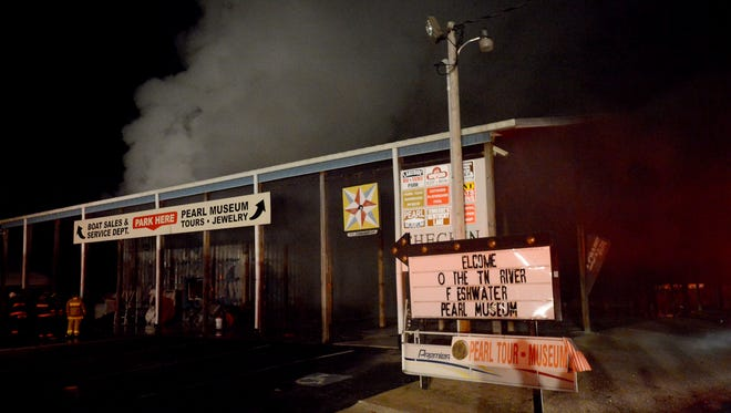 Firefighters worked to extinguish a fire at the Tennessee Pearl Museum in Camden, Tuesday evening, December 20. No injuries were reported.