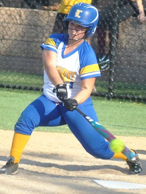 Lyndhurst first baseman Ava Ruggier takes a whack at a pitch in the state tournament game against Madison.