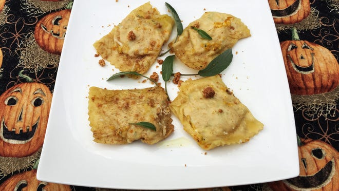 Pumpkin Ravioli are a savory taste of fall.