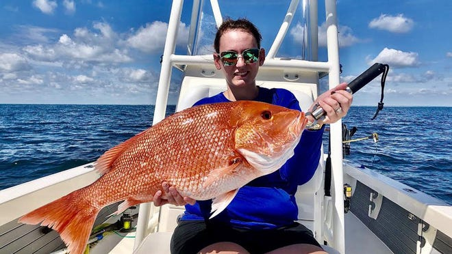 Shelby Hancock hooked this beautiful red snapper Thursday offshore, but a couple of days too early to keep. The fish was released. There are some new rules you'll need to be aware of if you're targeting snapper in this four-day season.