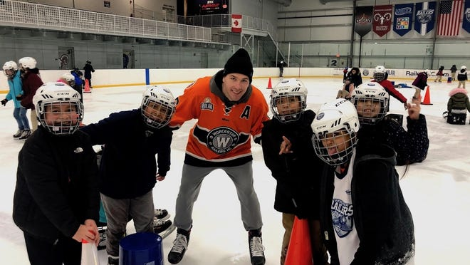 Connor Doherty enjoys some community outreach as part of his Railers commitment.