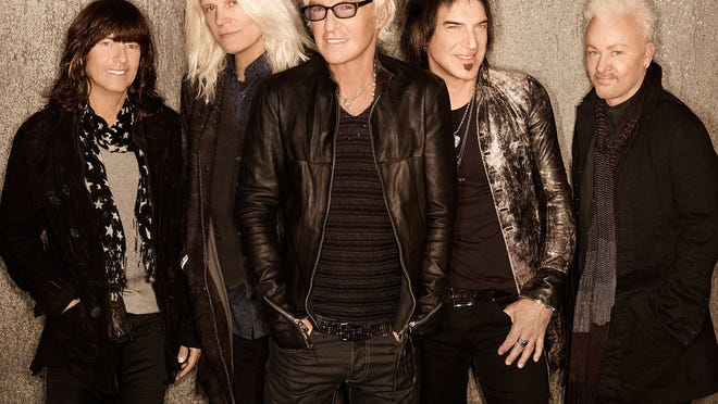The members of REO Speedwagon. From left: Bryan Hitt, Bruce Hall, Kevin Cronin, Dave Amato and Neal Doughty. Credit: Randee St. Nicholas.