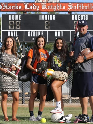 The Blair family has been involved extensively in sports. The family includes, from left, mother Rachael, daughters Ariel and Alysse, and father Jason Blair.