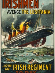 1915 poster showing the Lusitania in flames and sinking.