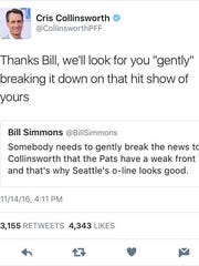 Screenshot of Collinsworth tweet.