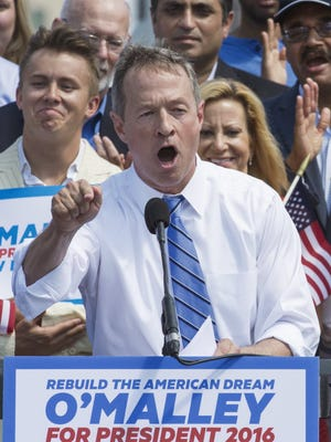 Former Maryland Governor Martin O'Malley announces his intention to seek the 2016 Democratic nomination to run for president, on May 30, 2015, in Baltimore, Md.