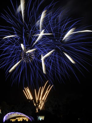 Fireworks are launched after the Christopher Cross concert July 26, 2014, at the OUL Wendel Concert Stage in Lancaster. Fireworks follow each of the Saturday performances.