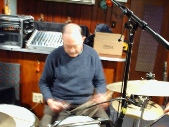 """Drummer Andy White, who played on """"Love Me Do"""" and """"P.S. I Love You"""" for the Beatles, records at the House of Vibes in Highland Park in 2008."""