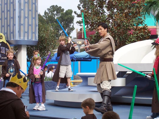 Sawyer, at age 7, took his Jedi training at Disneyland very seriously.