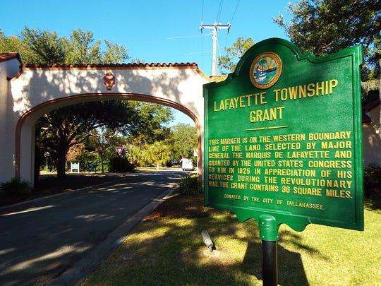 The refurbished Lafayette Township Grant historic marker,