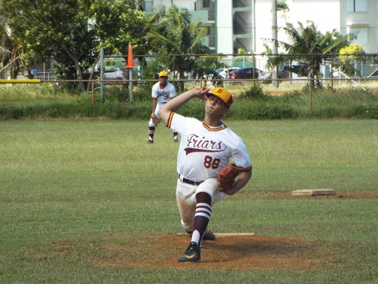 The Father Duenas Friars starting pitcher, Auron Eclavea.