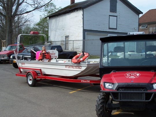 Afton Fire Department rescue boat with CPR model.