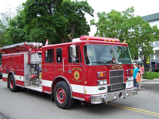 Afton Fire Department tanker in a past Memorial Day