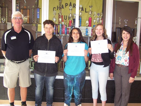 Chaparral Middle School pictured left to right: Kiwanis Club member Ned Kline, Chaparral students Jordan Loveland, Elena Garcia, Victoria Munoz and Principal Cynthia Bond.