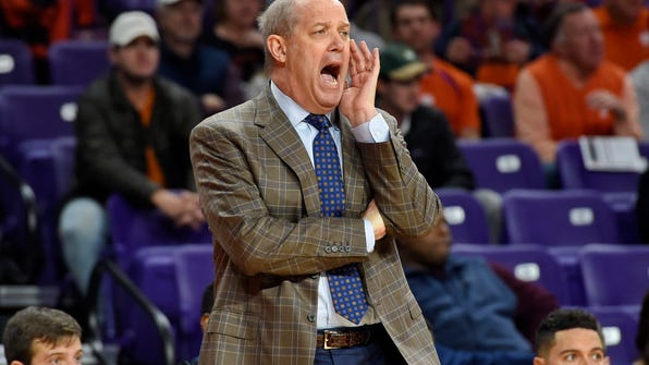 Pittsburgh head coach Kevin Stallings reacts during the first half of an NCAA college basketball game against Clemson, Thursday, Feb. 8, 2018, in Clemson, S.C. (AP Photo/Richard Shiro)