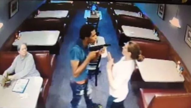 Still image from surveillance video showing the Aug. 28, 2017 robbery at Pleasant Ridge Chili. The robber, Christopher Binford, was sentenced Tuesday to three years in prison.