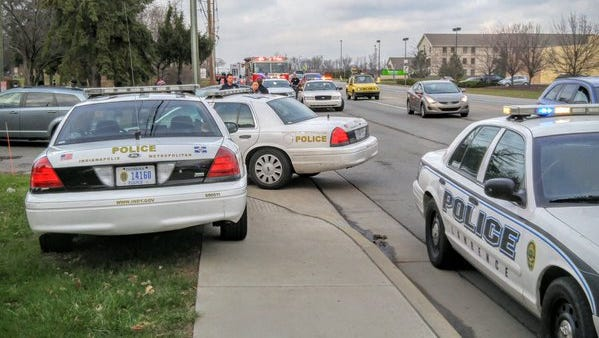 The shooting occurred just before noon Saturday in the street outside the Autumn Trails apartment complex, located just north of the intersection of Franklin Road and East 38th Street.