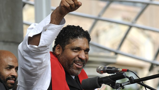 Mountain Moral Monday drew an estimated 2,500 to 3,500 people to Pack Square Park Monday, August 4, 2014. The Rev. William Barber, president of the North Carolina NAACP, was the featured speaker.